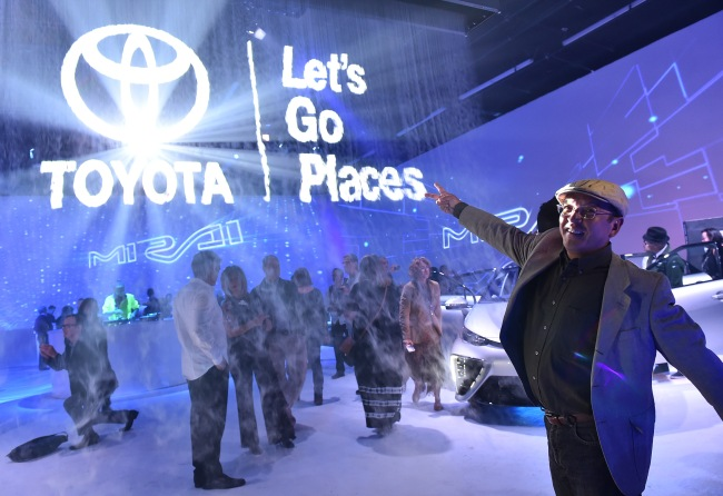 Toyota celebrates the launch of the Mirai, a hydrogen fuel cell car, on Tuesday, Oct. 20, 2015, in West Hollywood, Calif. (Photo by Jordan Strauss/Invision for Toyota/AP Images)