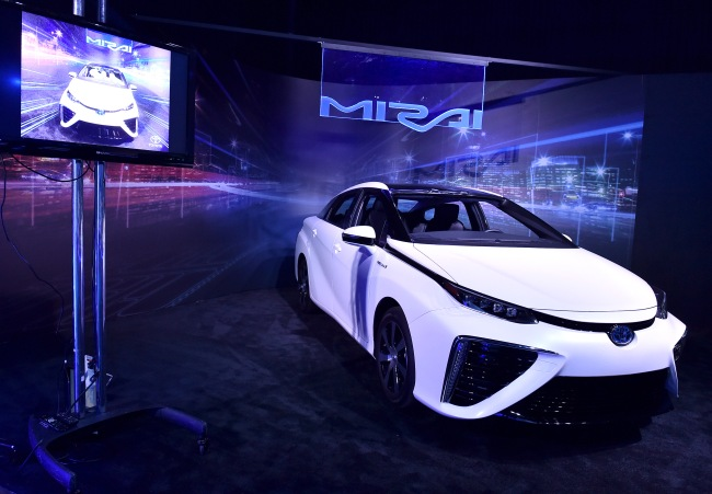 The Toyota Mirai fuel cell vehicle at its launch event at Quixote Studios on Tuesday, Oct. 20, 2015, in West Hollywood, Calif. (Photo by Jordan Strauss/Invision for Toyota/AP Images)