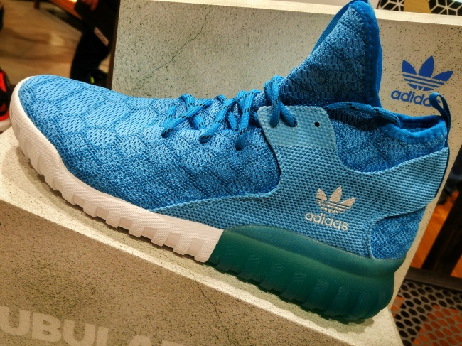Adidas Tubular Primeknits in blue. I don't think I can pull these off.